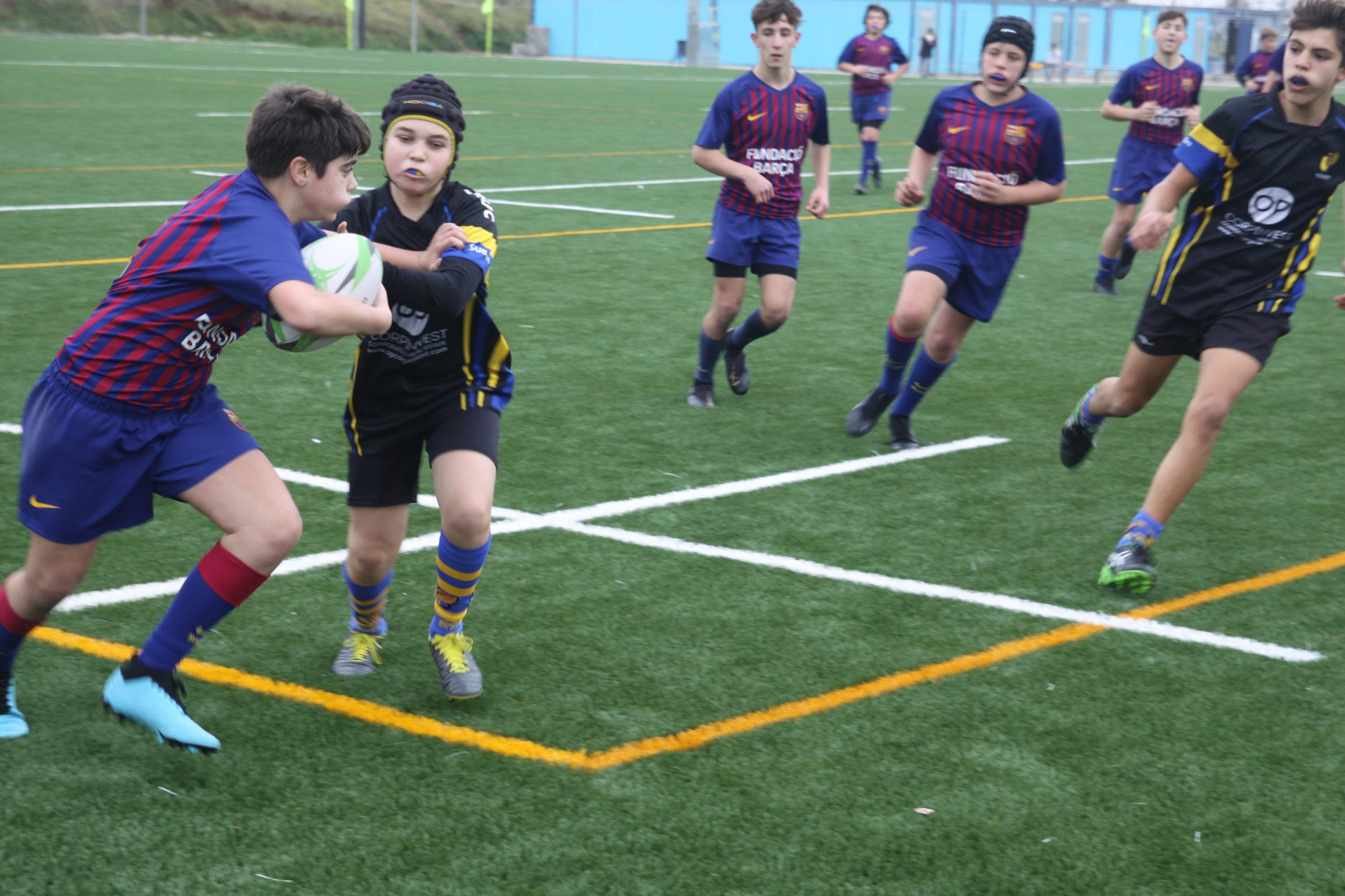 partido entre el Barça Rugby y el CRUC Sub 14