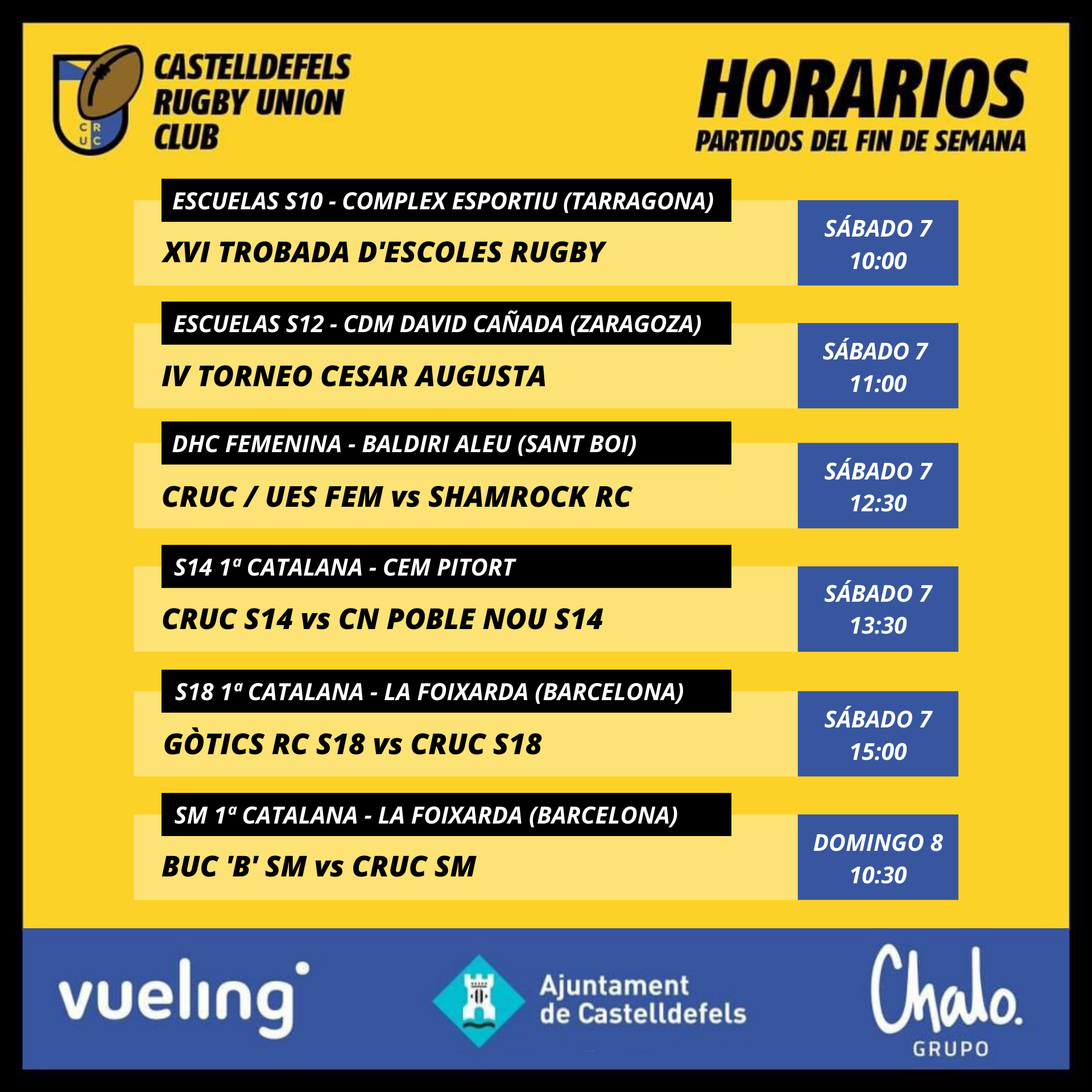 horarios de los partidos de rugby del cruc de este fin de semana