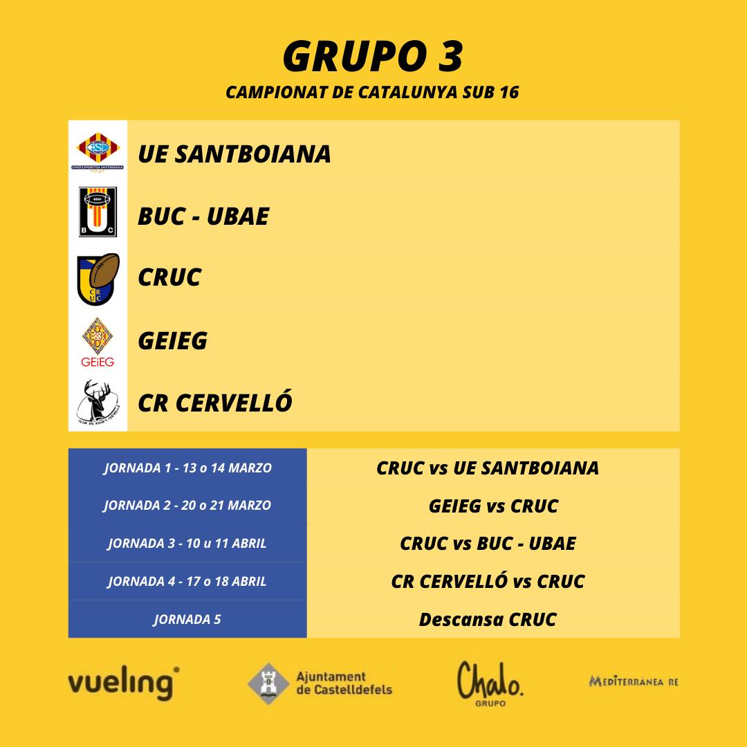 grupo 3 del campionat de catalunya sub 16, donde está encuadrado el CRUC