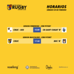 Horarios de los partidos de rugby del CRUC senior masculino y senior femenino