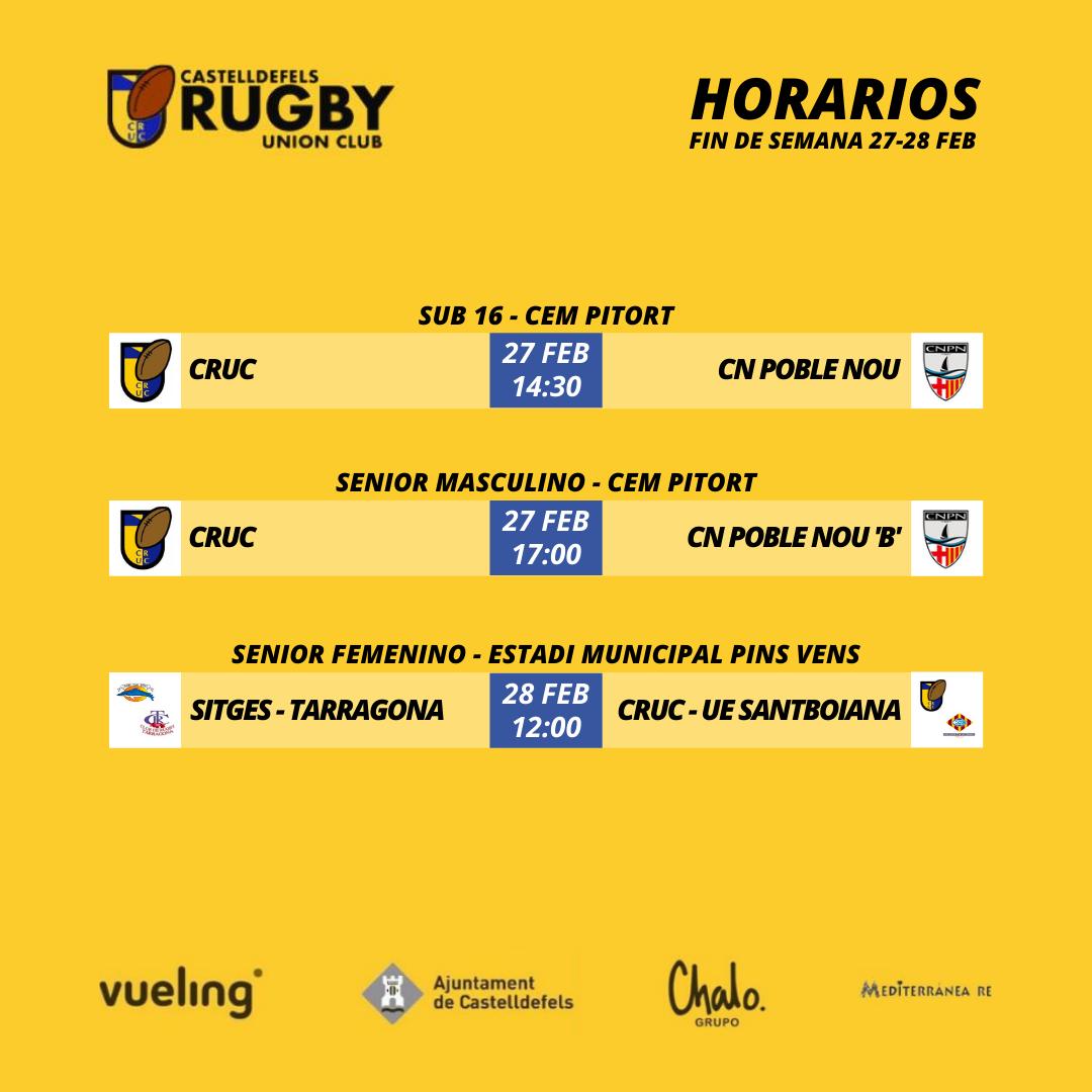 Horarios de los partidos de las categorías del Castelldefels Rugby, días 27 y 28 de febrero