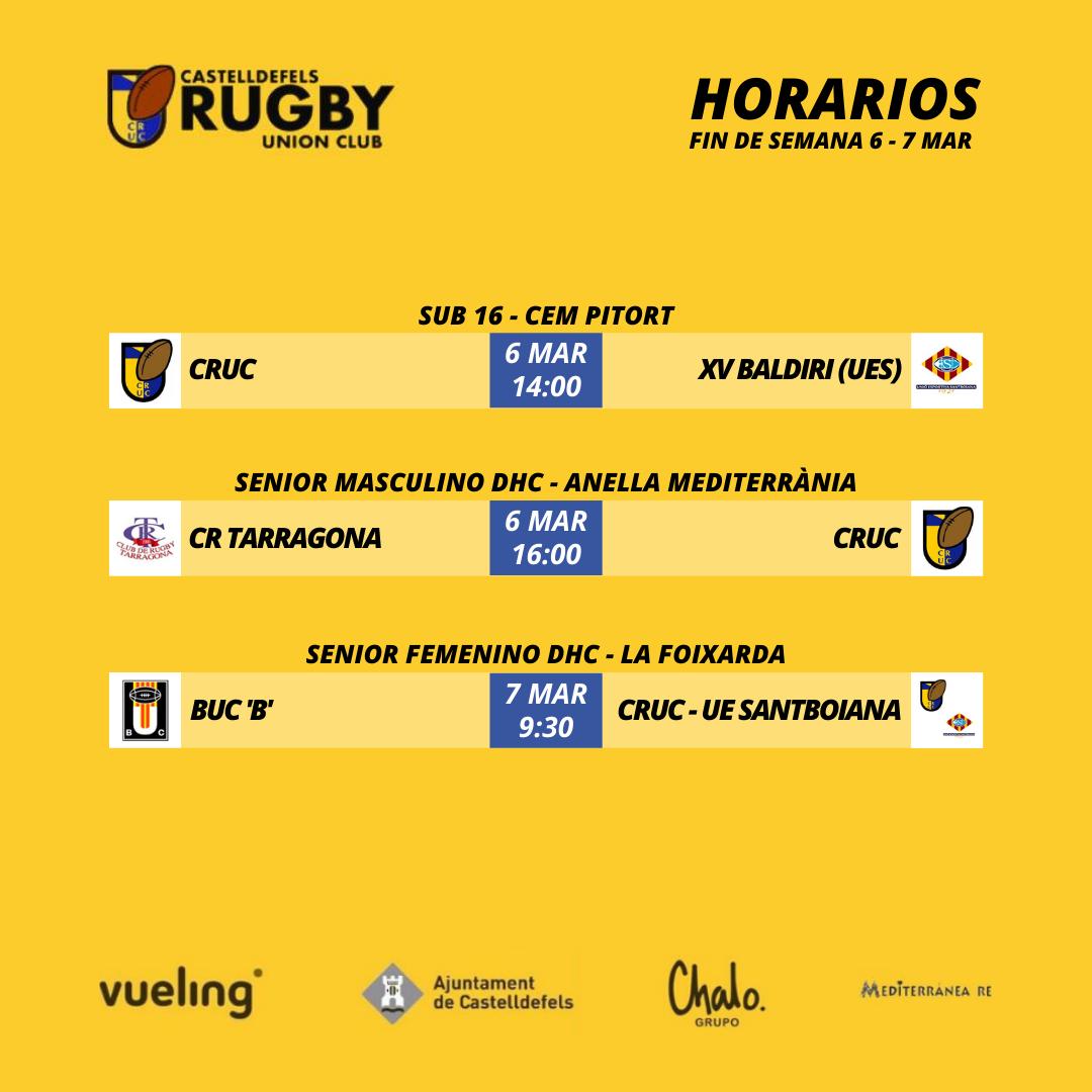 horarios de los partidos de rugby de las categorías del CRUC. Días 6 y 7 de marzo