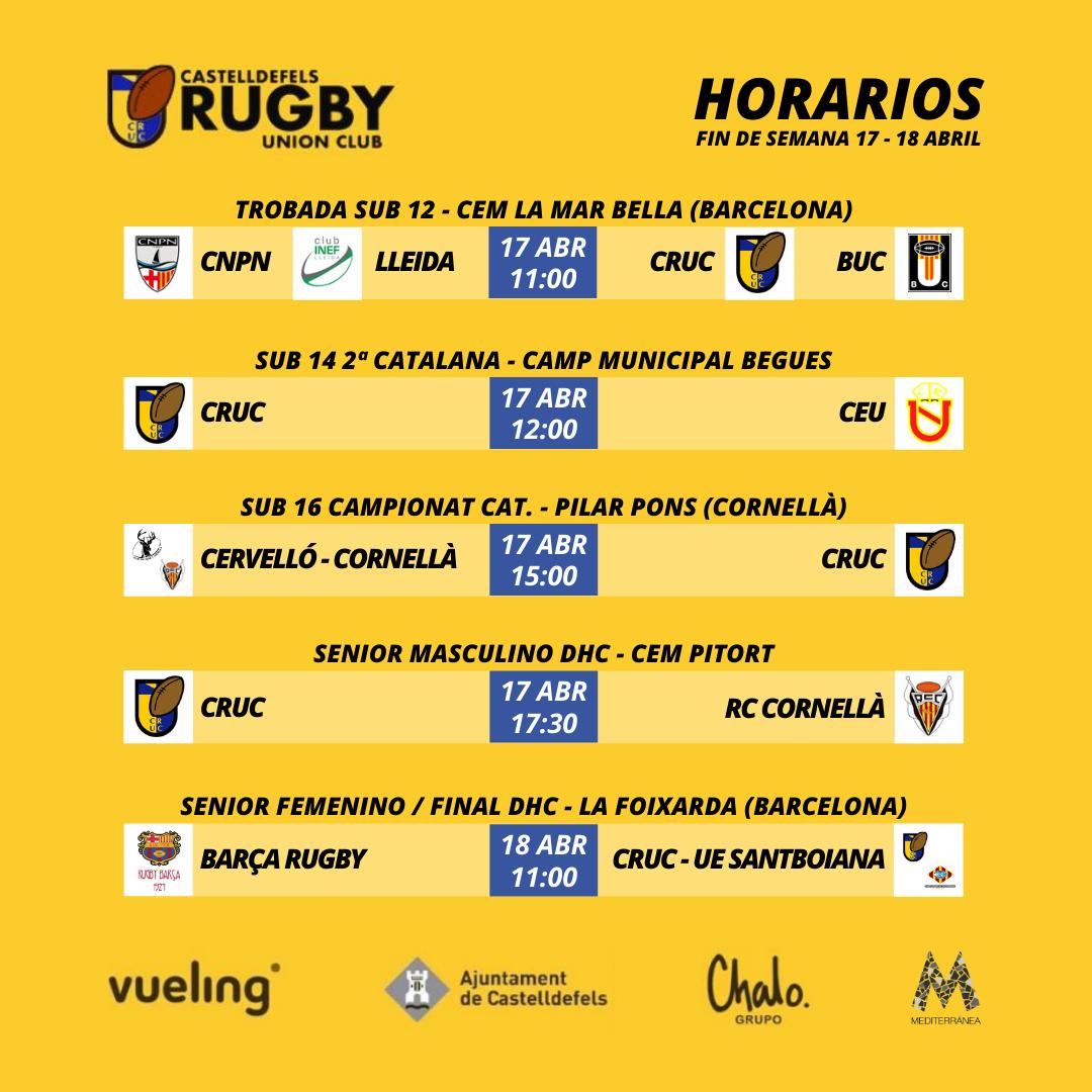 Horarios de los partidos del Castelldefels Rugby correspondiente al fin de semana del 17 y 18 de abril
