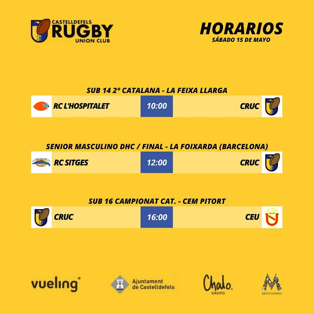 agenda del 15 de mayo, partidos del Castelldefels Rugby Union Club