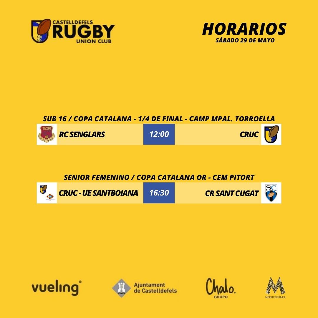 Agenda del Castelldefels rugby para el sábado 29 de mayo