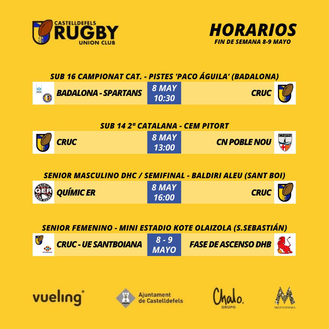 horarios del castelldefels rugby union club del fin de semana 8 y 9 de mayo