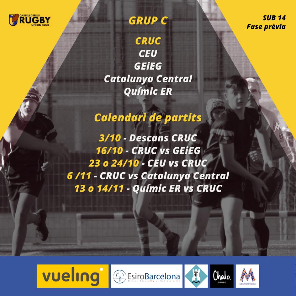 CRUC sub 14 en el Grupo C de la Fase Previa del rugby catalan. Los mejores equipos jugarán en Segunda Division.