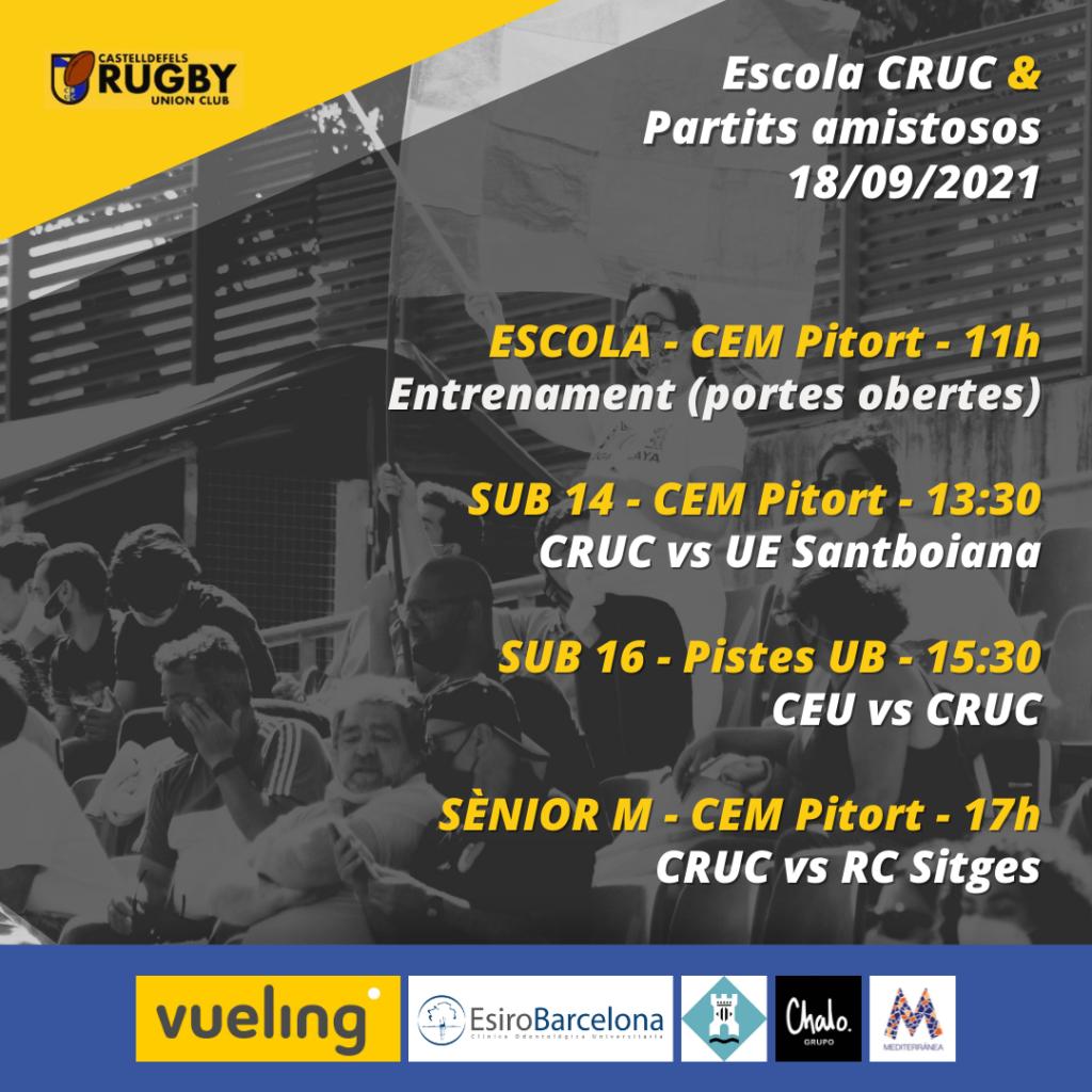 Horarios de los partidos del Castelldefels Rugby Union Club del día 18 de septiembre de 2021