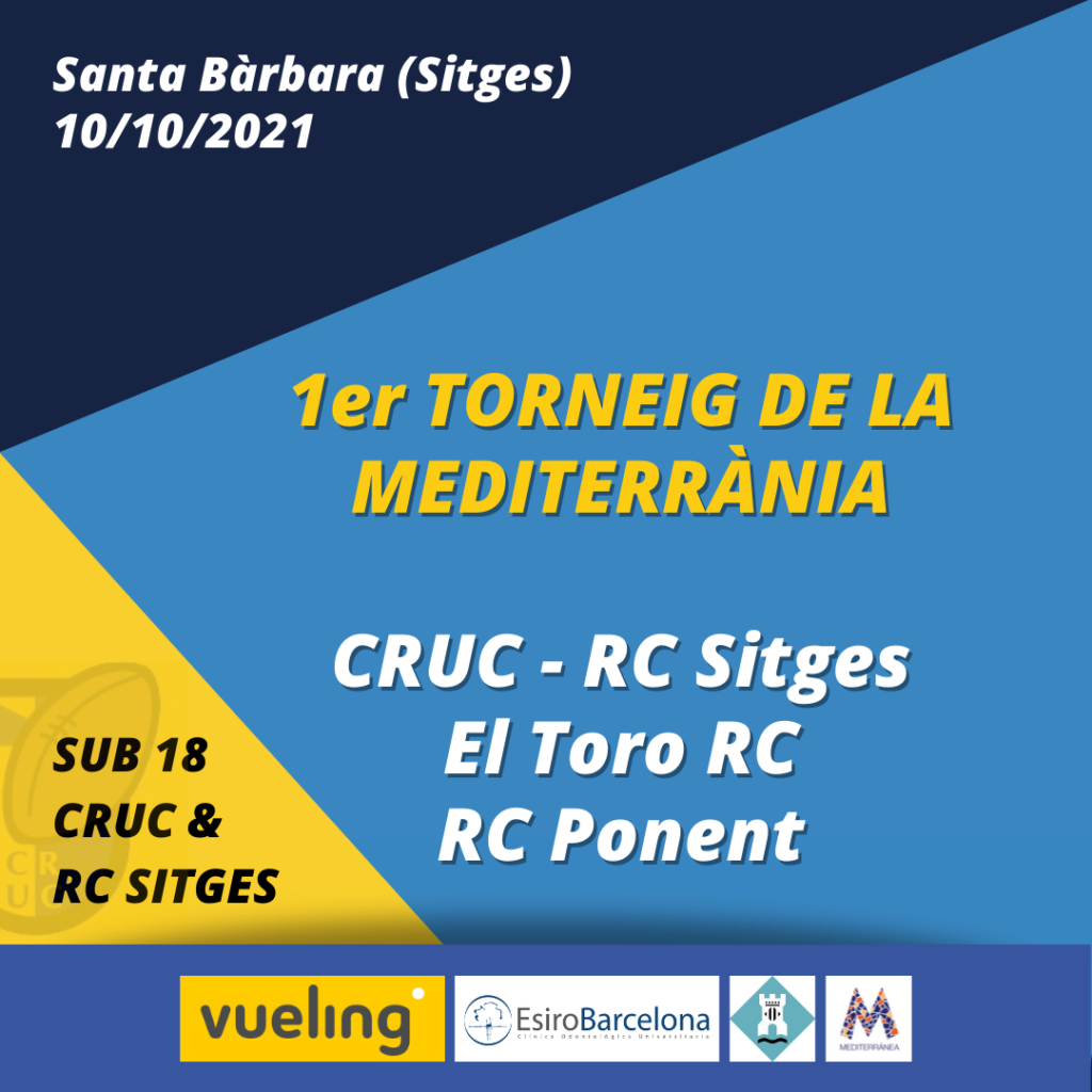 Cartel promocional del Torneig de la Mediterrània, en el que participa el Castelldefels Rugby Union Club junto al RC Sitges