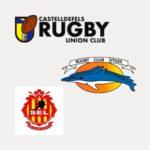 imagen de los logos del combinado sub 18 de rugby: CRUC, Sitges y SEL Vilanova