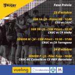 Cartel con los horarios de los partidos del Castelldefels Rugby Union Club